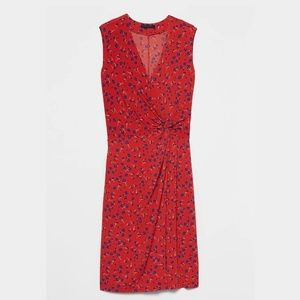 Red Floral Print Twist Faux Wrap Dress